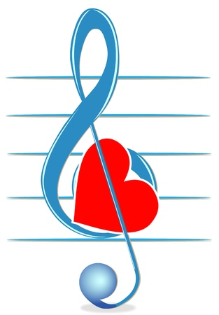 love music: Illustration of a treble clef and heart on a white background