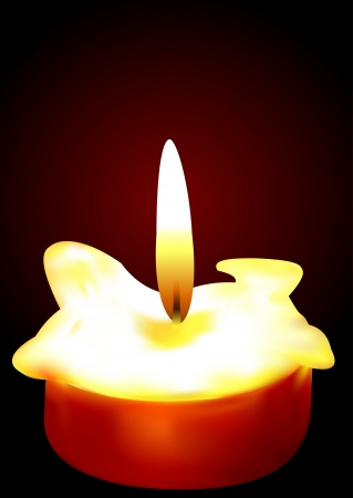 Illustration of a burning candle on a dark background Vector