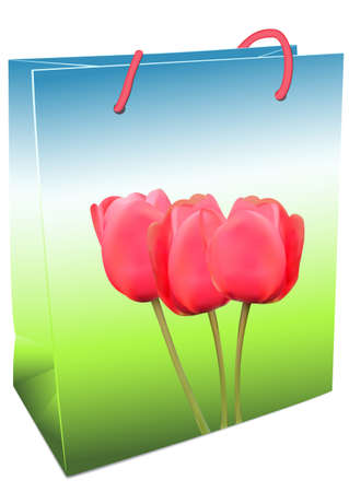 Illustration of shopping bags with tulips on a white background Stock Vector - 18372252
