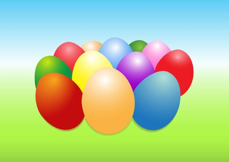 bluegreen: Illustration of colored Easter eggs on a blue-green background