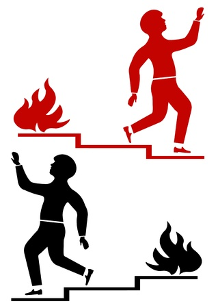 Illustration of black and red walking man and fire Stock Vector - 18694440