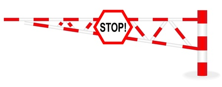 Illustration barrier with a stop sign on a white background Vector