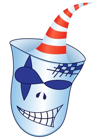 Illustration scary mask with cap on white background Stock Vector - 19732278