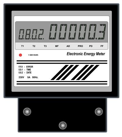 Illustratie van elektronische energiemeter op een witte achtergrond