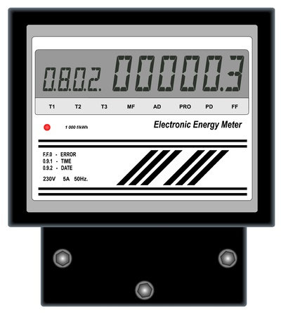 hz: Illustration of electronic energy meter on a white background Illustration