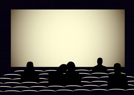 Illustratie van de visuele bioscoop met silhouetten van mensen