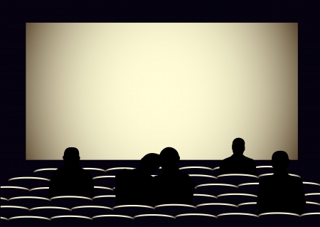 Illustration of the visual cinema with silhouettes of people