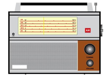 am radio: Illustration of an old radio on a white background  Illustration