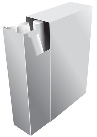 Illustration of an open pack of cigarettes on a white background Vector