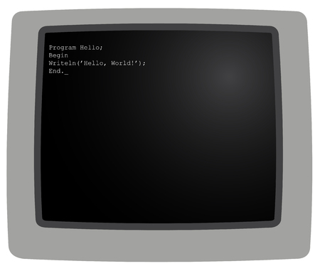 hi end: Illustration of the monitor with a fragment of code Illustration