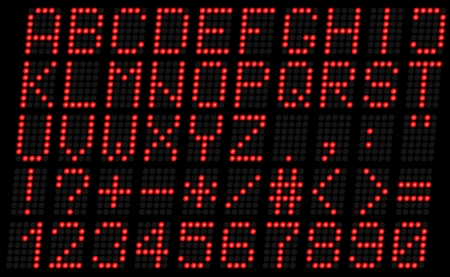 digital indicator: Illustration uppercase alphabet digital LCD indicator on a dark background