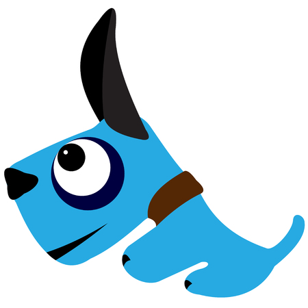 attentive: Illustration of a blue cartoon dog on a white background