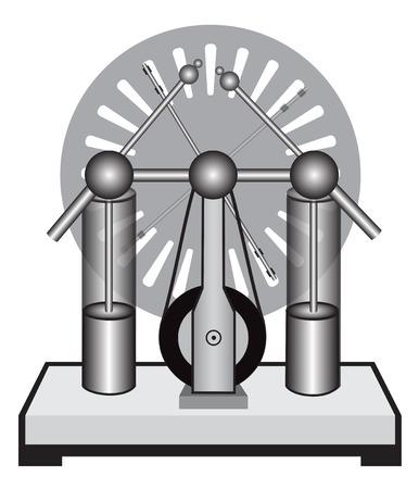 statics: Illustration of electrostatic machine on a white background Illustration
