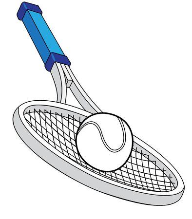 tennis racquet: Ilustraci�n de una raqueta de tenis con una pelota Vectores