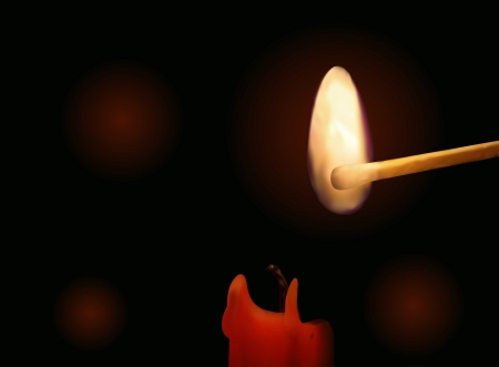 Illustration of a candle and a match on a dark background