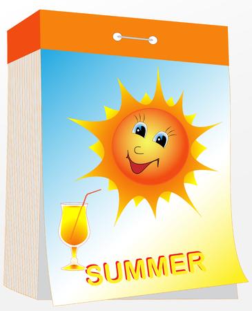 Illustration wall tear-off calendar with the sun and a drink, summer season