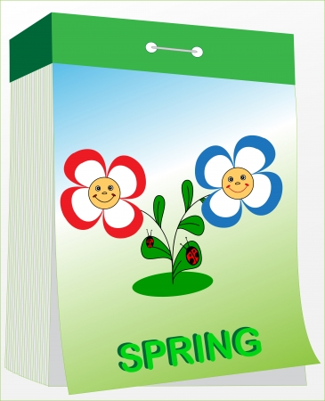 Illustration wall tear-off calendar with flowers, spring season Vector