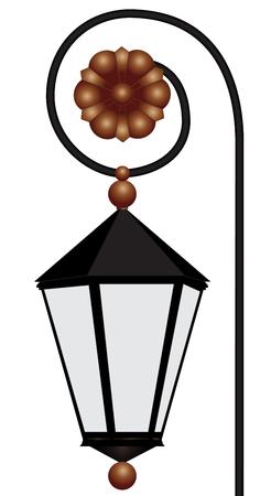 lighting column: Illustration of retro street lantern on a white