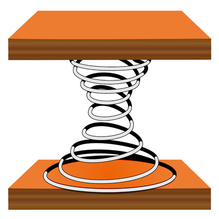 elasticity: Illustration of a spiral on a wooden stand on a white