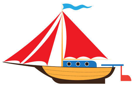 superstructure: Illustration of childs toy yacht on white background