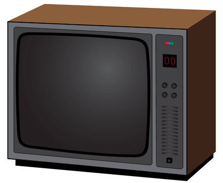 crt: Illustration of old television on a white background