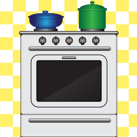 regulators: Illustration of cookstove with pots on a plaid background Illustration
