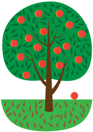 Illustration of a cartoon tree with fruits on a white background Stock Vector - 26730903