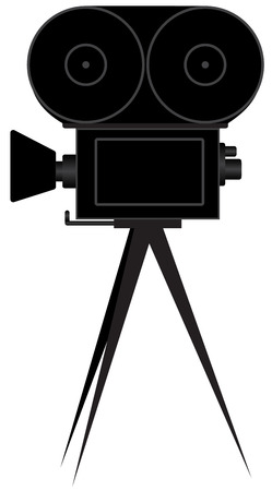 Illustration of silhouettes of the movie camera on a white background Illustration