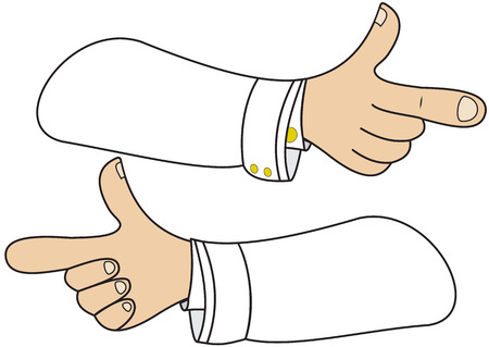 elbow sleeve: Illustration of hands in the form of direction signs
