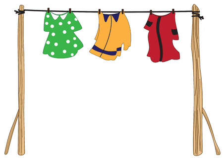 Illustration clothes on the clothesline on a white background Illustration