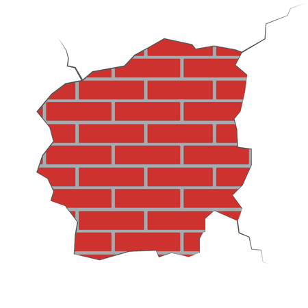 chipped: Illustration of a brick wall with a broken plaster