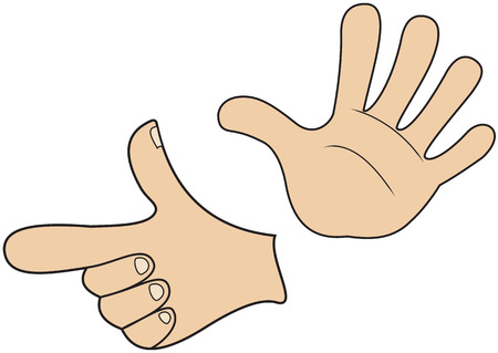 Illustration of hands in the form of direction signs