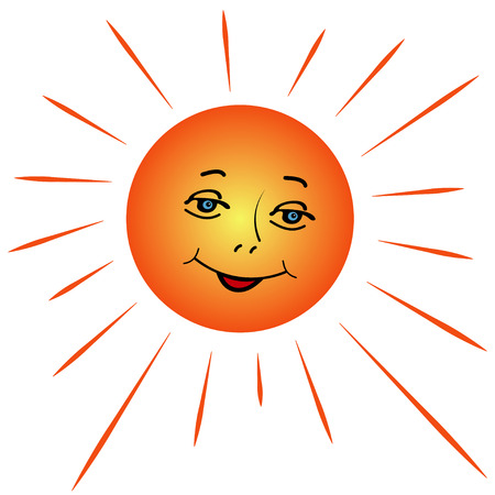 Illustration of a cartoon sun with rays of a white background
