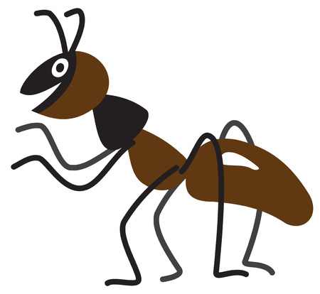Illustration of a cartoon ant on white background Vector
