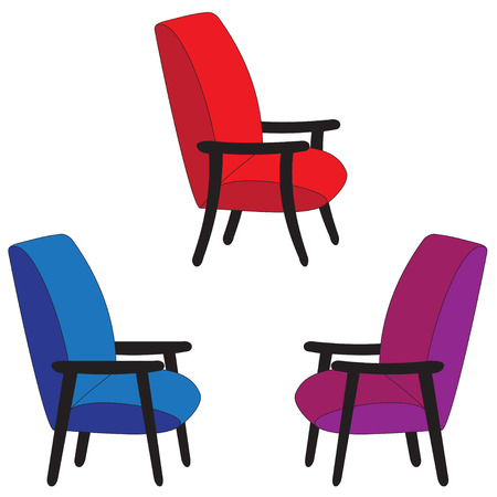 backrest: Illustration set of different seats on a white background