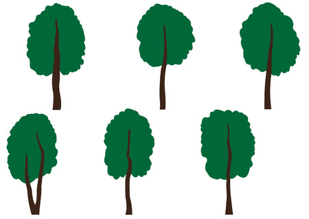 Illustration set of different large green trees Vector