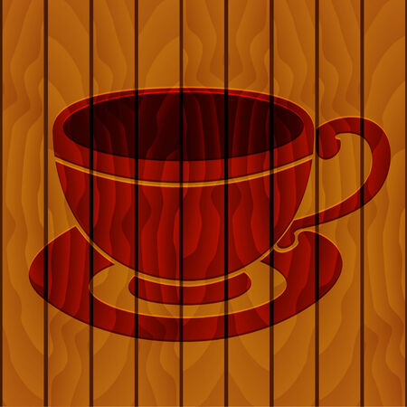 scorched: Illustration of drawing scorched cup of coffee on a wooden background Illustration