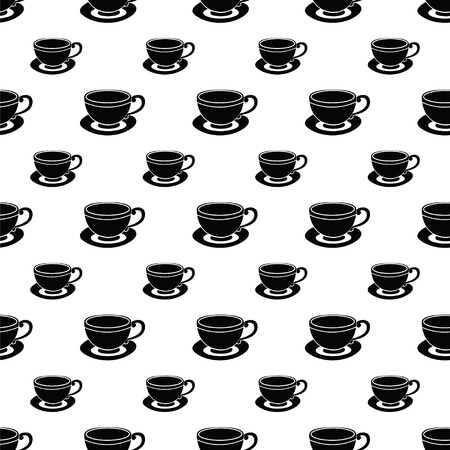 Illustration of seamless pattern of coffee cups on a white background Vector