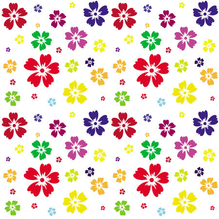 disclosed: Illustration of seamless pattern of flowers on a white background