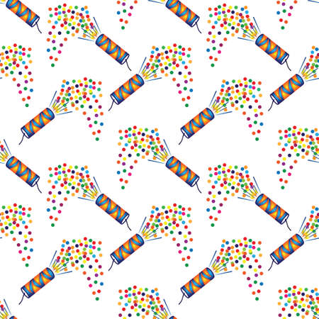 Illustration of seamless pattern of Christmas crackers on white background Vector