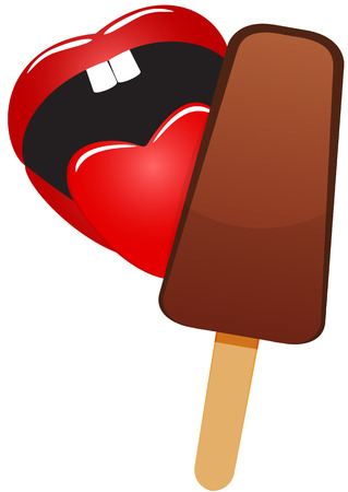 licking: Illustration of mouth with the language licking ice cream