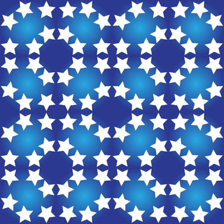 estrellas cinco puntas: Illustration seamless pattern of white stars on a blue background