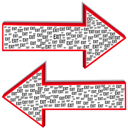 Illustration of two arrows of different directions with the inscription exit Vector