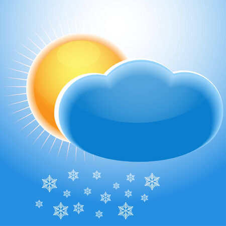 Illustration of the sun, clouds and snowflakes