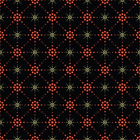 Illustration of seamless pattern of symbolic coloder stars on a black background