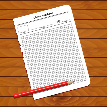 single entry: Illustration of sheet notebook diary on wooden background
