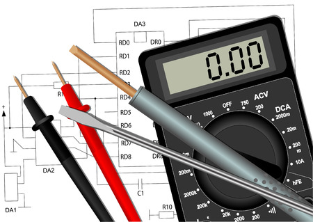 multimeter: Illustration of a soldering iron, a screwdriver and a multimeter in the circuit diagram