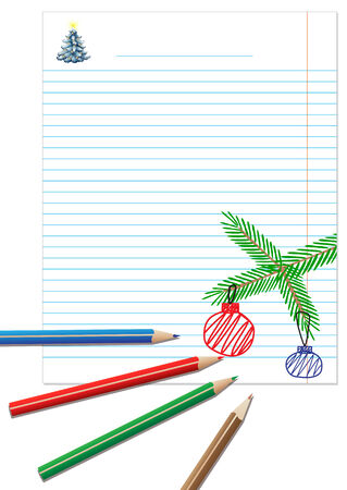 Illustration of paper note with colored pencils and hand-drawing on a white background Vector