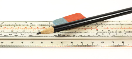 logarithmic: Ruler pencil and eraser on a white background