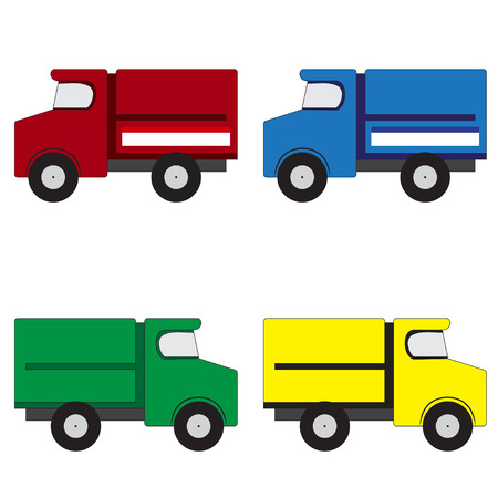 Illustration of 4 multicolored trucks on a white background Vector